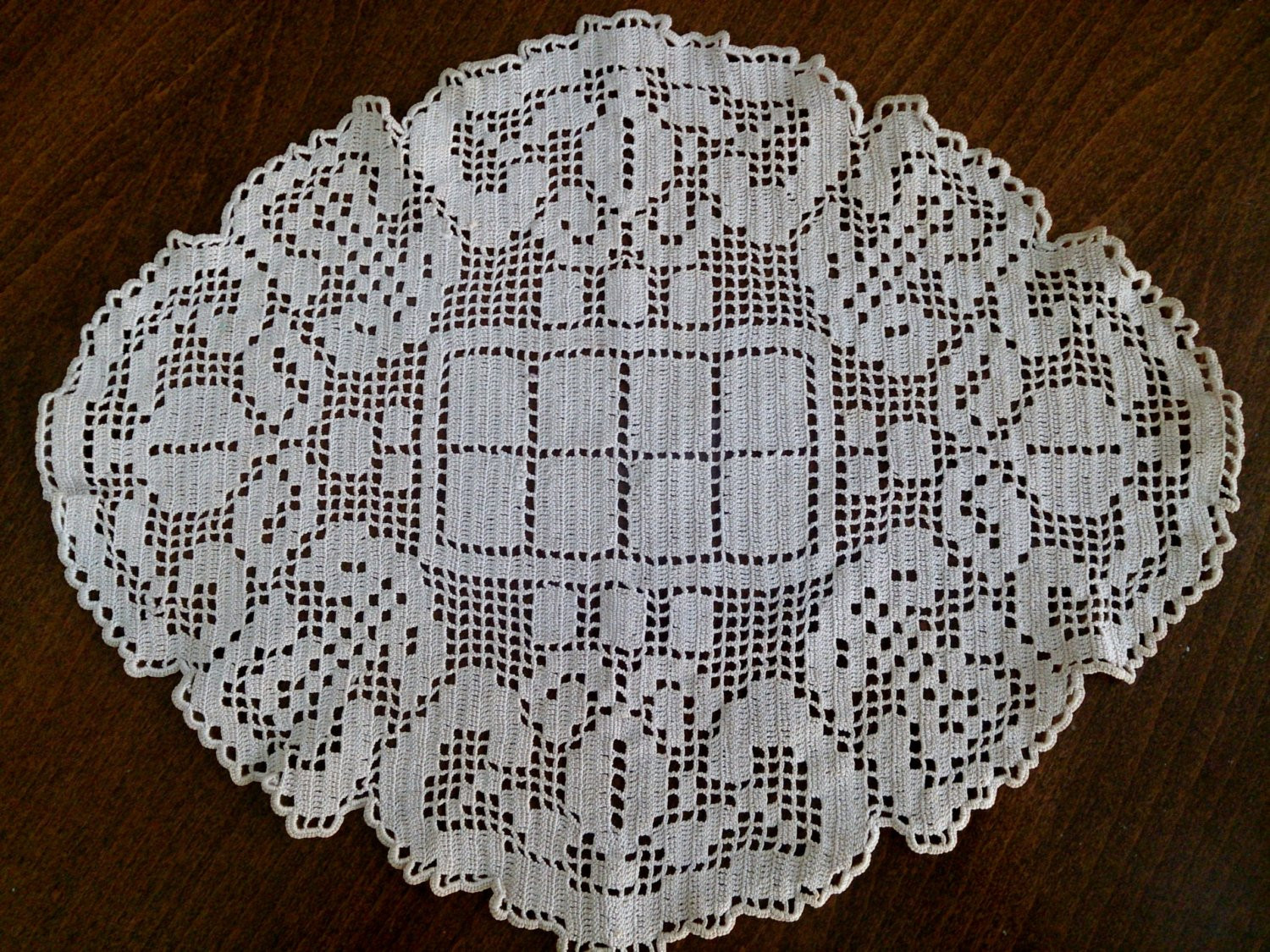 Crochet Name Doily Awesome Vintage Oval Filet Crochet Doily Ecru Natural Cotton Colour Of Lovely 45 Images Crochet Name Doily