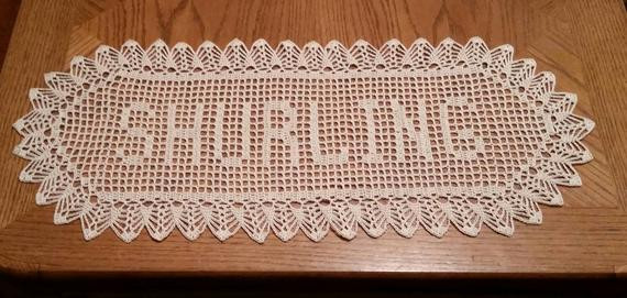 Filet Crochet Name Doily 11 letters Letter Style A custom made