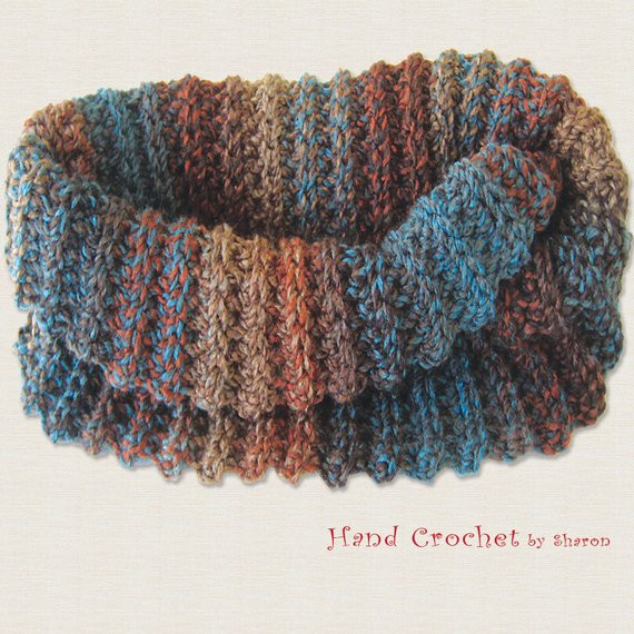 Crochet Neck Scarf Awesome Crochet Scarf Neck Warmer Fashion Accessory Brown Teal Of Great 50 Ideas Crochet Neck Scarf