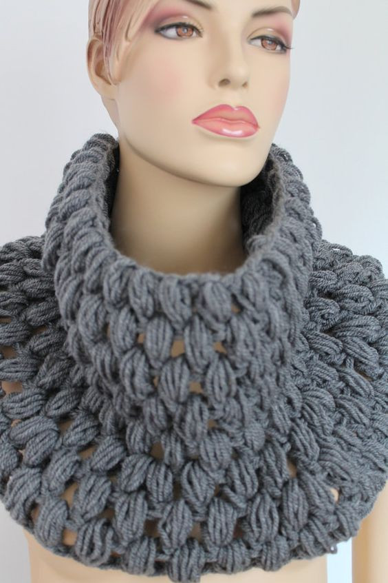 Crochet Neck Scarf Best Of Crochet Grey Scarf Cowl Scarf Neck Warmer by Levintovich Of Great 50 Ideas Crochet Neck Scarf