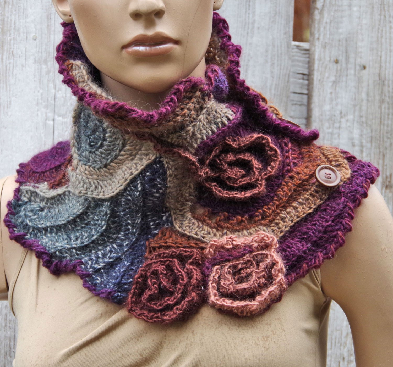 Crochet Neck Scarf Elegant Crochet Scarf Capelet Neck Warmer Freeform by Degra2 Of Great 50 Ideas Crochet Neck Scarf