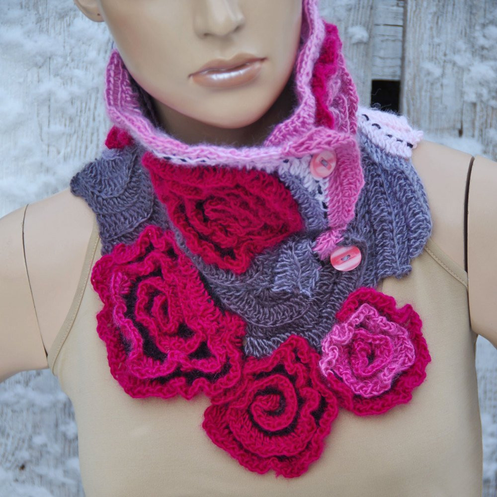 Crochet Neck Scarf Elegant Crochet Scarf Roses Capelet Neck Warmer Freeform Crochet Of Great 50 Ideas Crochet Neck Scarf