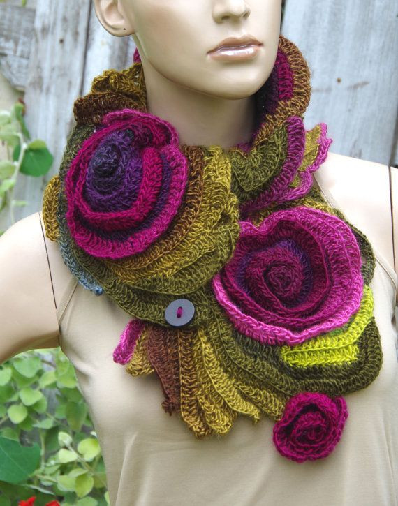 Crochet Neck Warmer Best Of Crochet Scarf Freeform Crochet Roses button Womens Scarf Of Brilliant 41 Pictures Crochet Neck Warmer