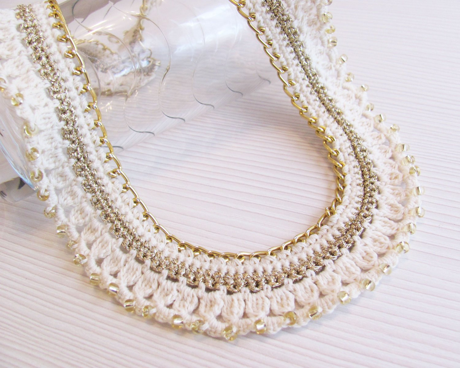 f white gold crocheted collar chain necklace gold by
