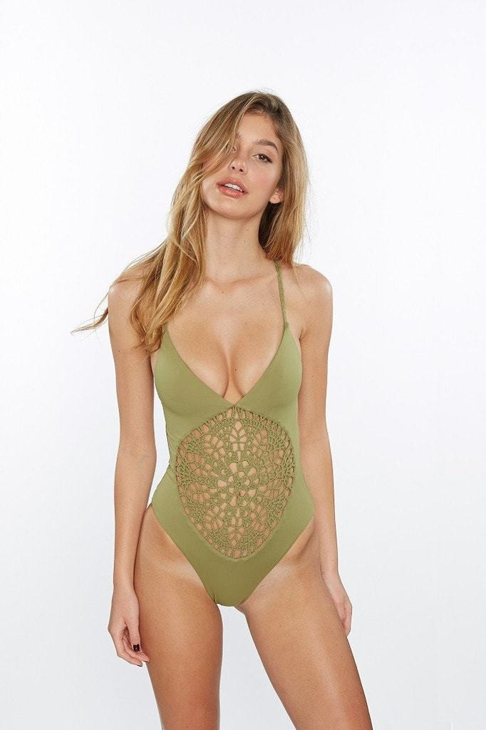 Frankies Bikinis Camo Green Poppy