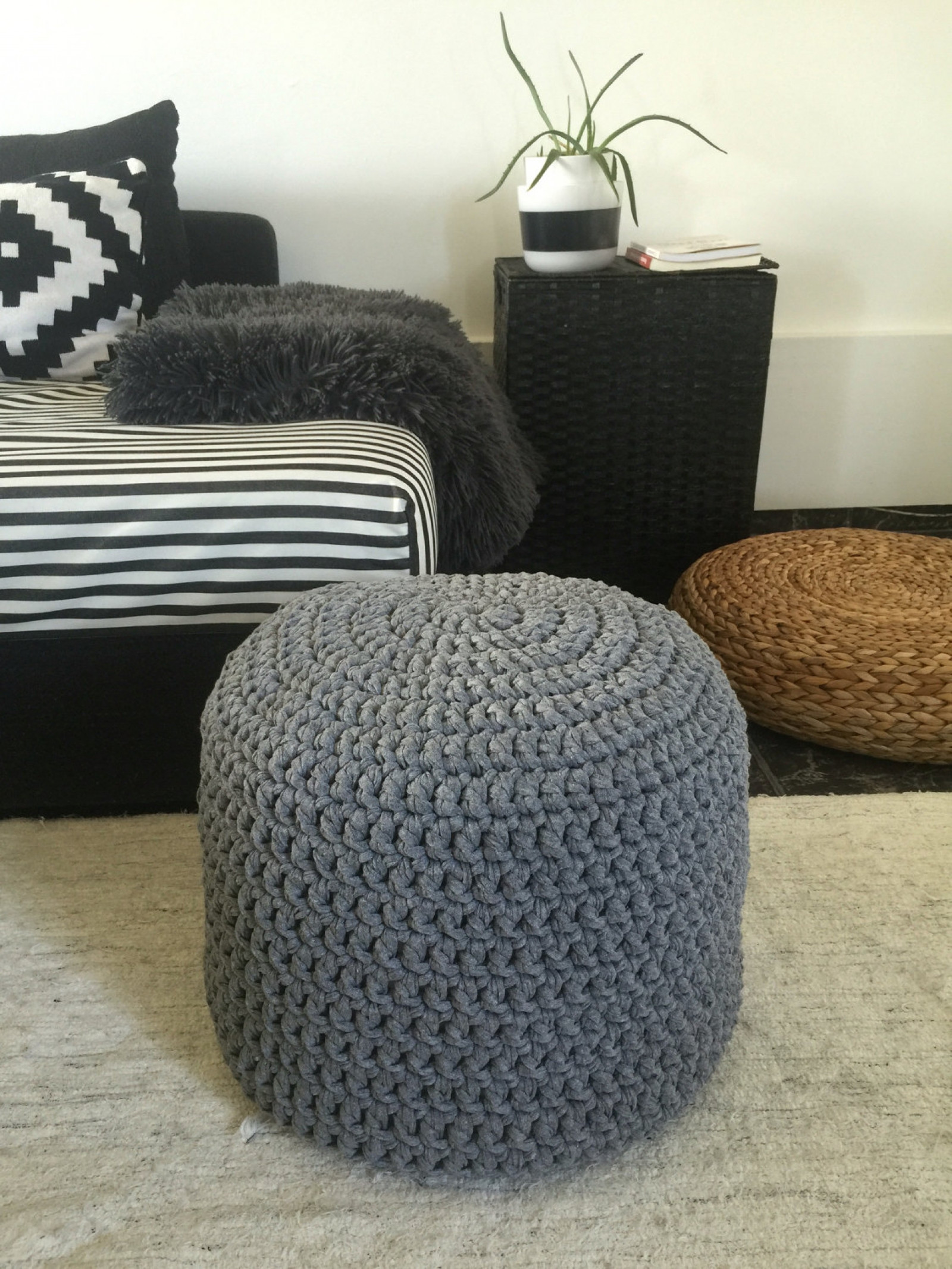 Grey Crochet Pouf Ottoman Nursery Foot Stool Pouf