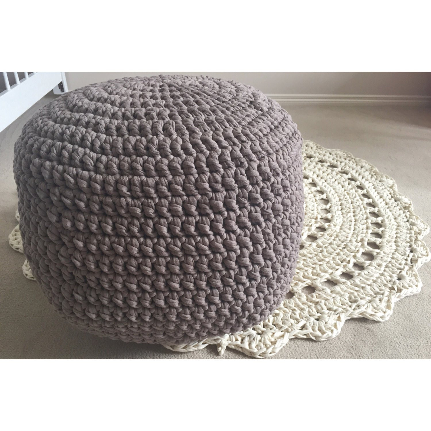 Crochet Ottoman Elegant Handmade Crochet Pouf Ottoman Footstool Of Incredible 42 Ideas Crochet Ottoman