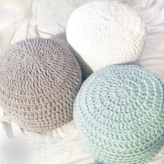 Crochet Ottoman Elegant Mint Green White Grey Hand Crochet Pillow Ottoman Pouf Of Incredible 42 Ideas Crochet Ottoman