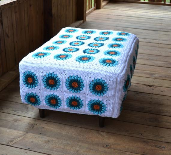 Crochet Ottoman New Reserved Ottoman with Crochet Granny Square Cover White Of Incredible 42 Ideas Crochet Ottoman