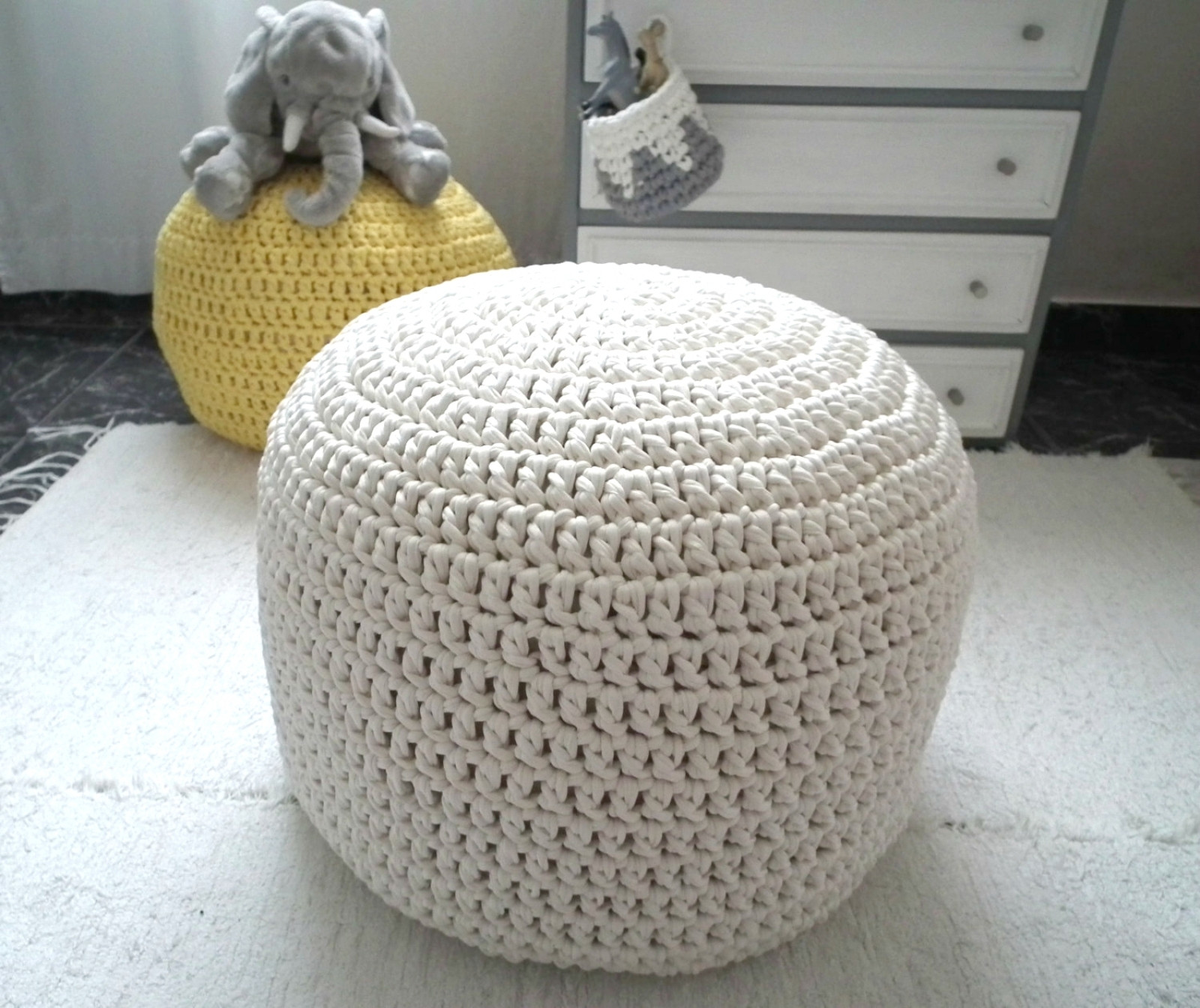 Crochet Ottoman New White F Wh Crochet Pouf Ottoman Nursery Foot Stool Of Incredible 42 Ideas Crochet Ottoman