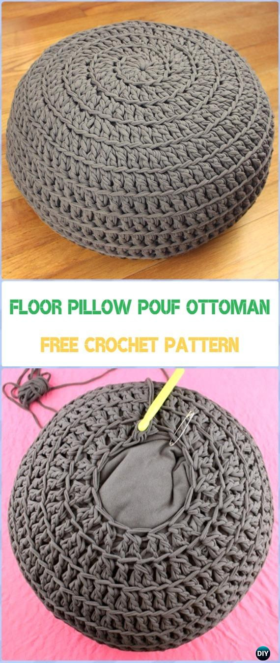 Crochet Poufs & Ottoman Free Patterns & DIY Tutorials