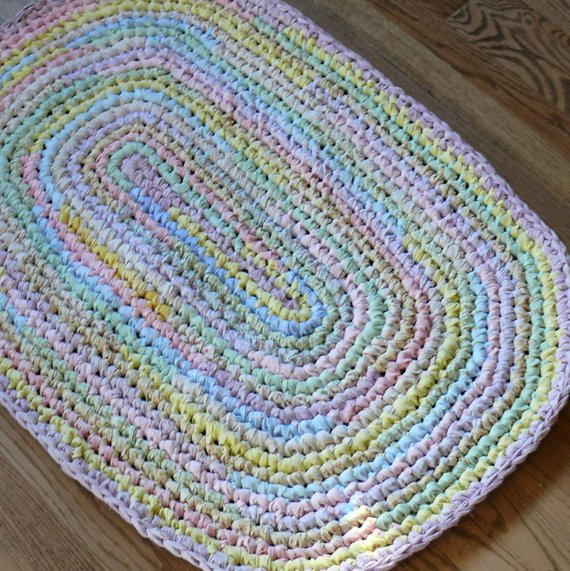 Crochet Oval Rug Luxury Crocheted Oval Rag Rug Pastel Colors Of Charming 49 Images Crochet Oval Rug