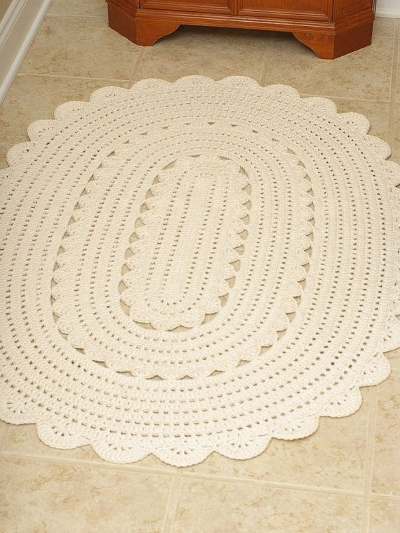 "Crochet Oval Rug Luxury Handmade Crochet Oval Doily Rug ""alicia"" F White Oval Of Charming 49 Images Crochet Oval Rug"