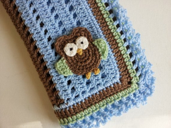 Crochet Owl Blanket Awesome Crochet Owl Baby Blanket In Blue Brown and Green Handmade Of Contemporary 43 Images Crochet Owl Blanket