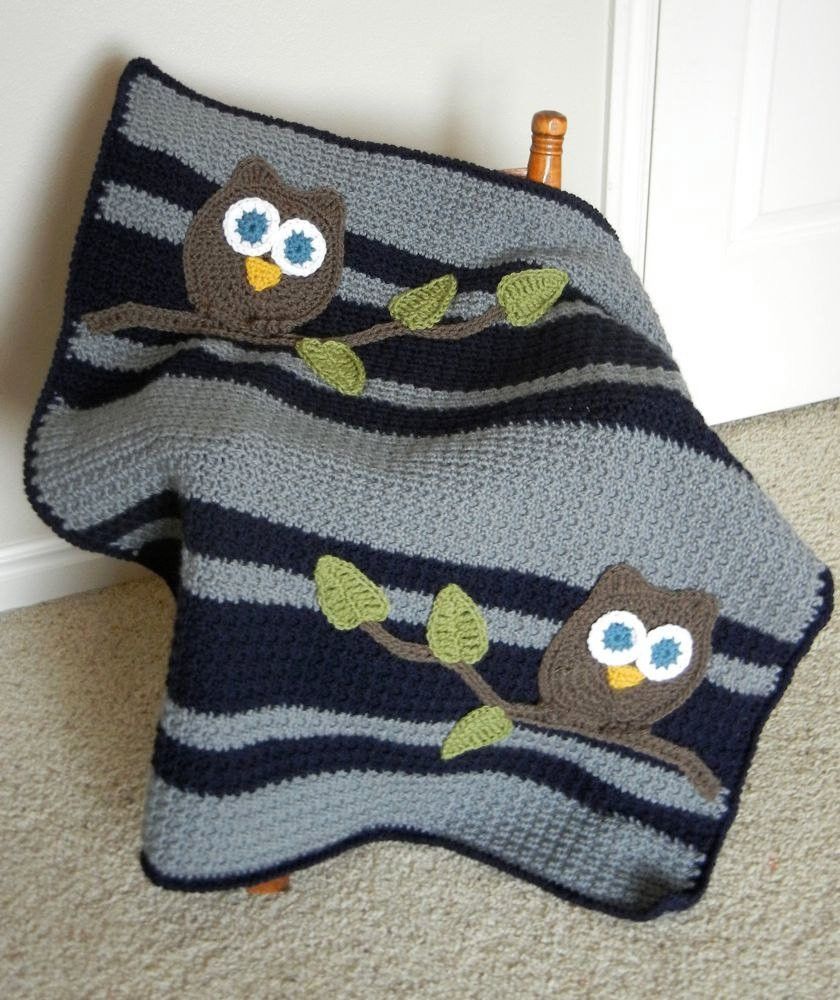 Crochet Owl Blanket Awesome Owl Baby Blanket Boy Baby Shower Gift Navy and Gray Of Contemporary 43 Images Crochet Owl Blanket