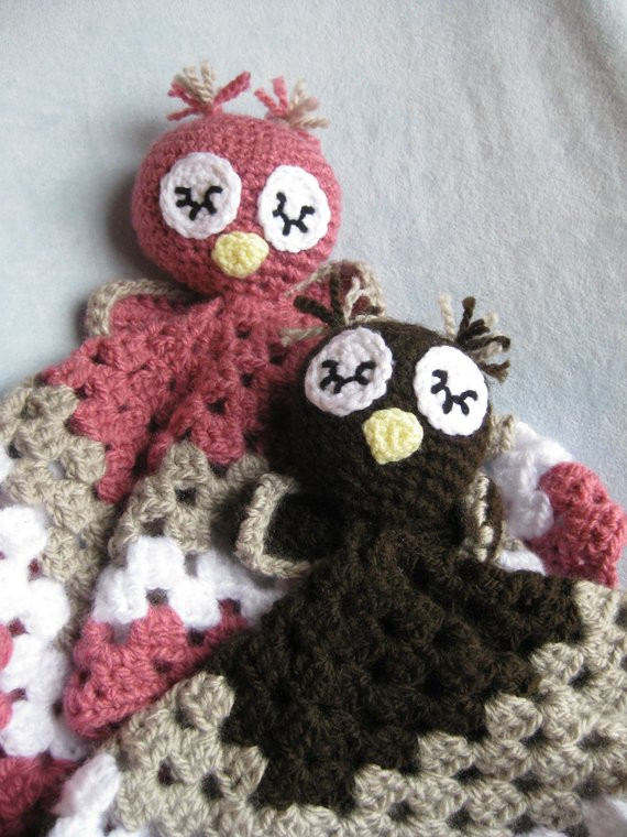 Crochet Owl Blanket Pattern Awesome Items Similar to Crochet Owl Security Blanket Lovey Pink or Brown Sleepy Owl Baby Infant Granny Of Luxury 42 Models Crochet Owl Blanket Pattern