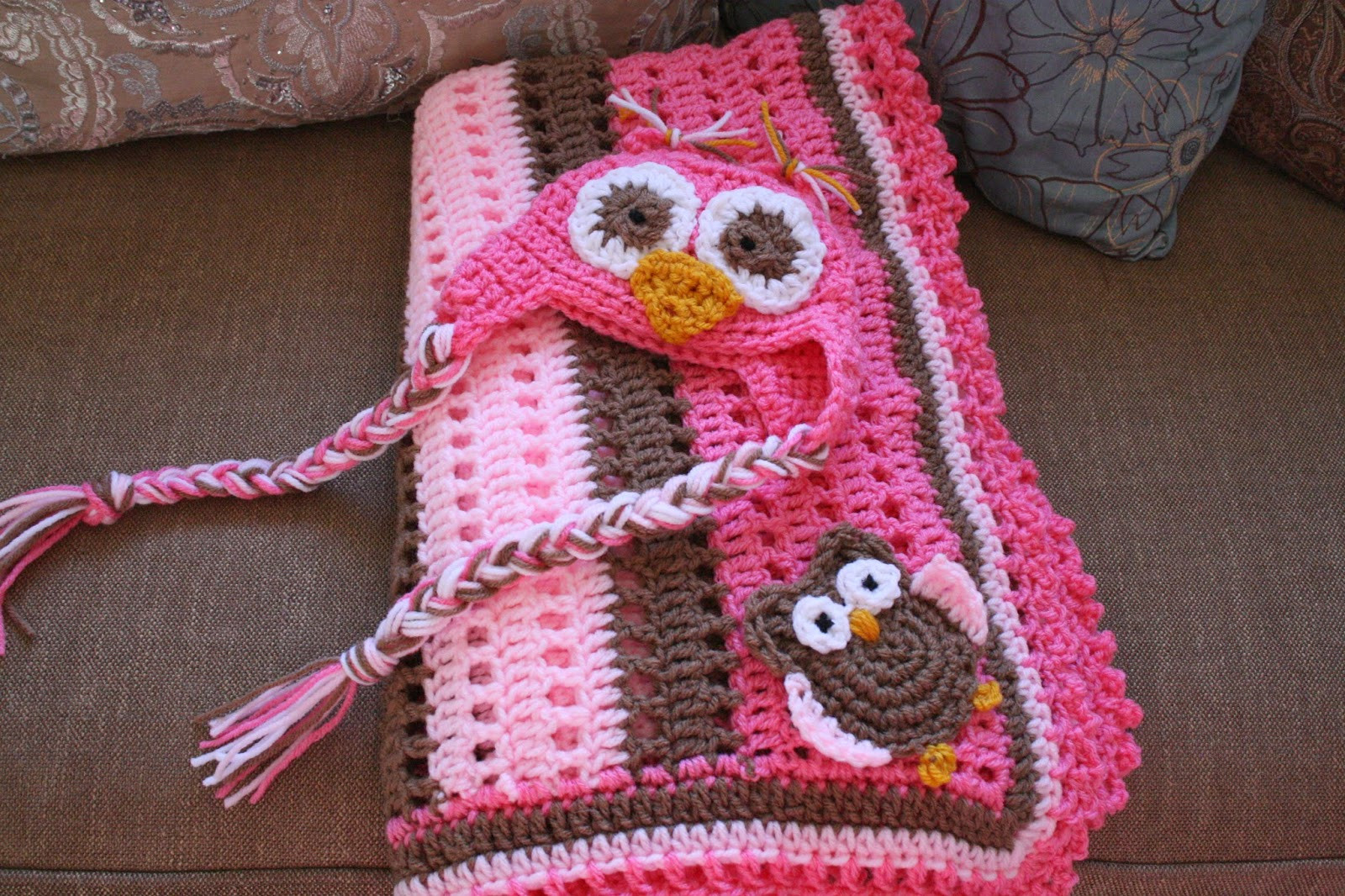 Priscillas Crochet Baby Boy Owl Blanket and Hat