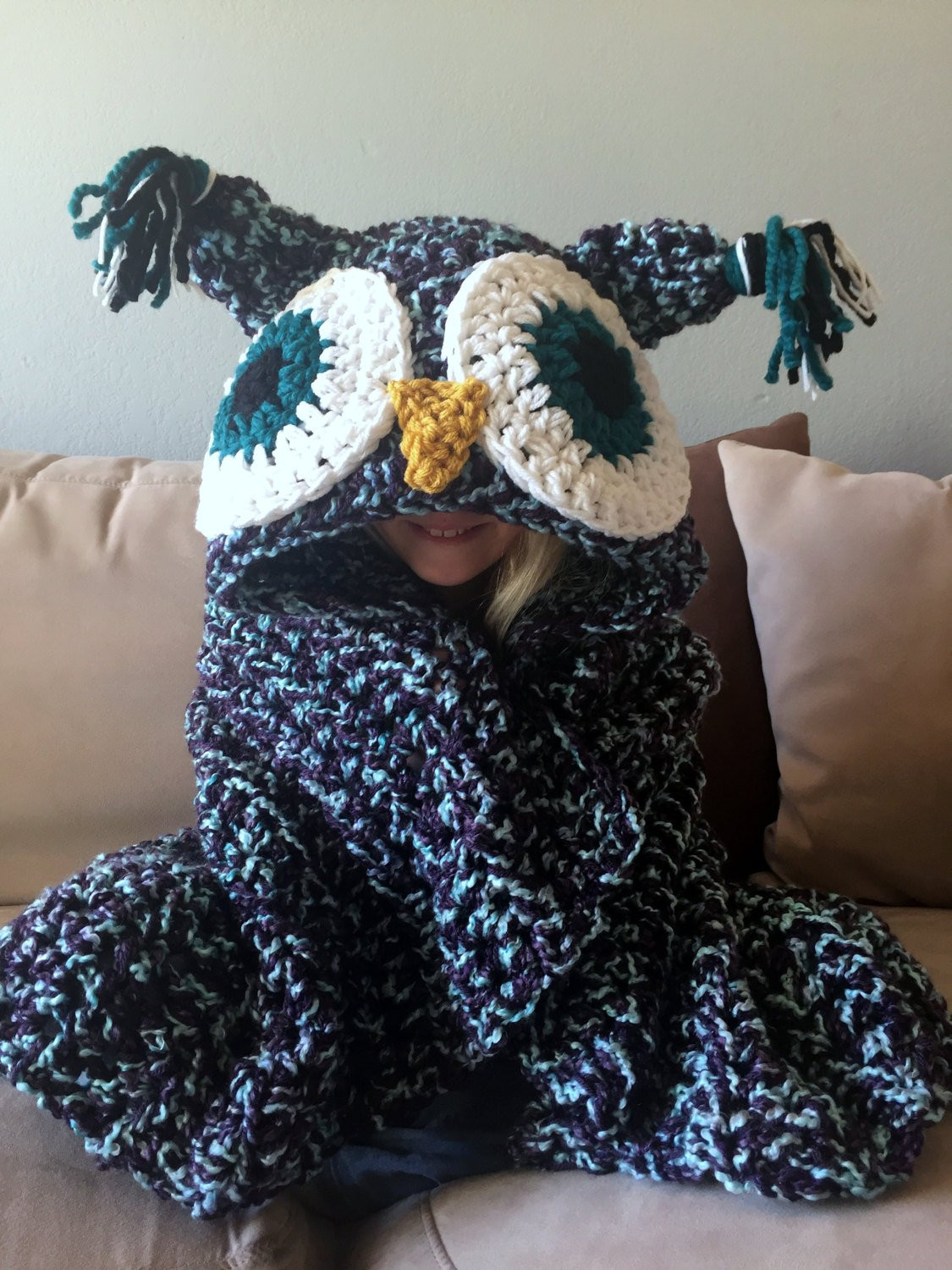 Crochet Owl Blanket Pattern Best Of Hooded Owl Blanket Owl Hood Crochet Blanket Handmade Of Luxury 42 Models Crochet Owl Blanket Pattern