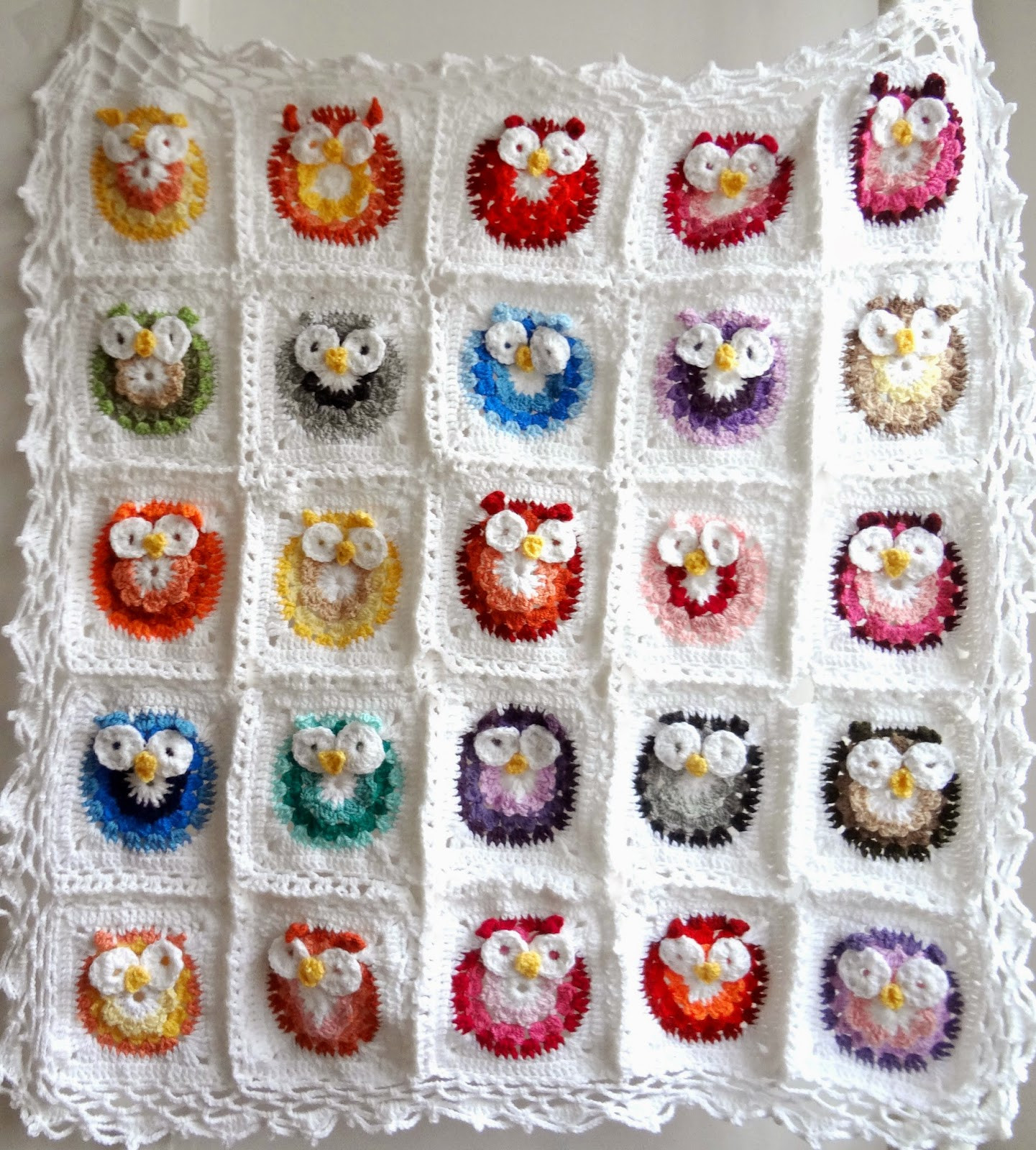 Little Treasures Crochet Owl Blanket Pattern
