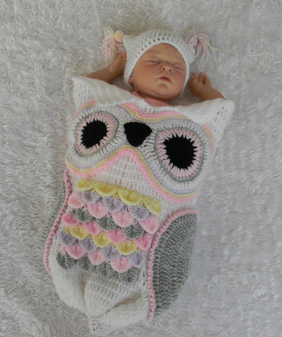 Crochet Owl Cocoon Beautiful Crochet Pattern for Owl Cocoon Papoose & Hat 3 Sizes 245 Of Amazing 44 Models Crochet Owl Cocoon