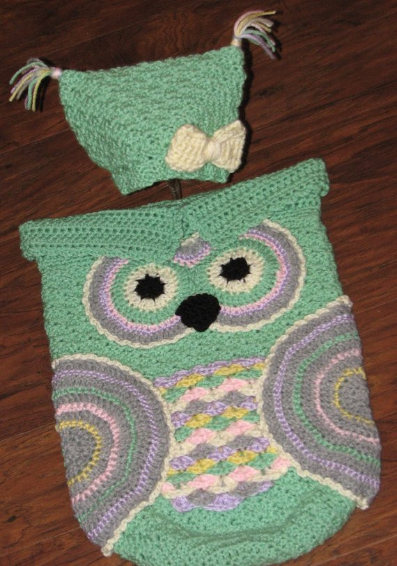 Crochet Custom Made Baby Owl Cocoon and Hat Set Owl Cocoon
