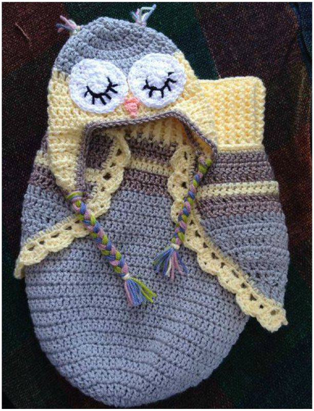 Crochet Owl Cocoon Lovely Owl Cocoon and Hat – 3 button Baby – Crochet Free Pattern Of Amazing 44 Models Crochet Owl Cocoon