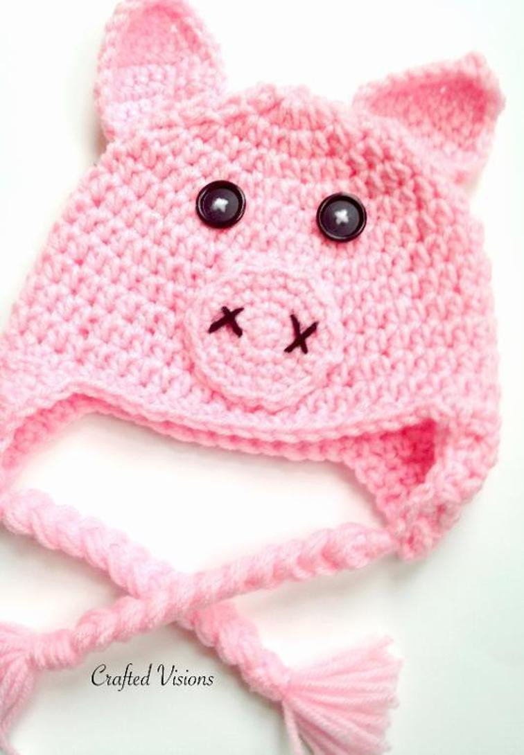 Crochet Pig Pattern Beautiful Crochet Animal Hats 12 Patterns for Children & Adults Of Adorable 49 Models Crochet Pig Pattern