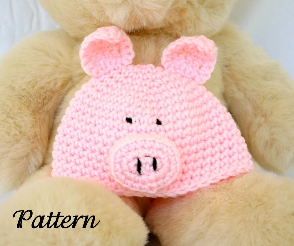 Crochet Pig Pattern Fresh Baby Pig Hat Pdf Crochet Pattern 0 6 Months Farm Animal Beanie Of Adorable 49 Models Crochet Pig Pattern
