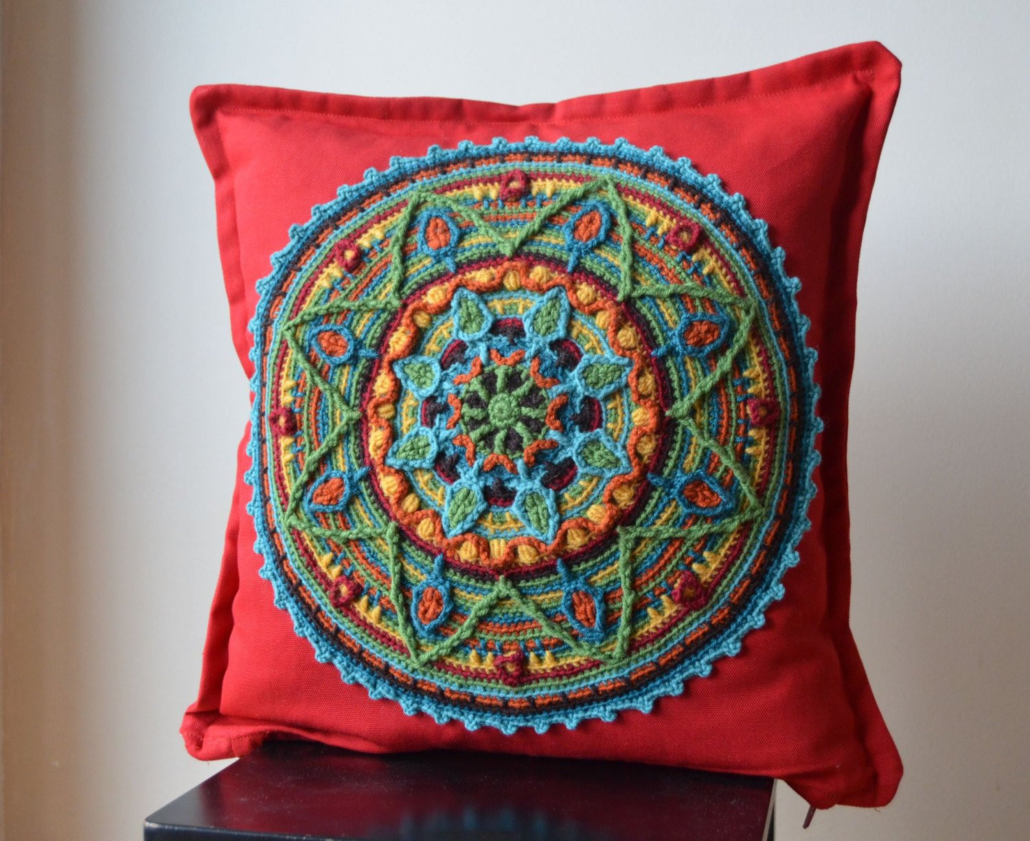 Crochet Pillow Cover Beautiful Crochet Mandala Red Pillow Cover by Lillabjorncrochet On Etsy Of Amazing 50 Pics Crochet Pillow Cover