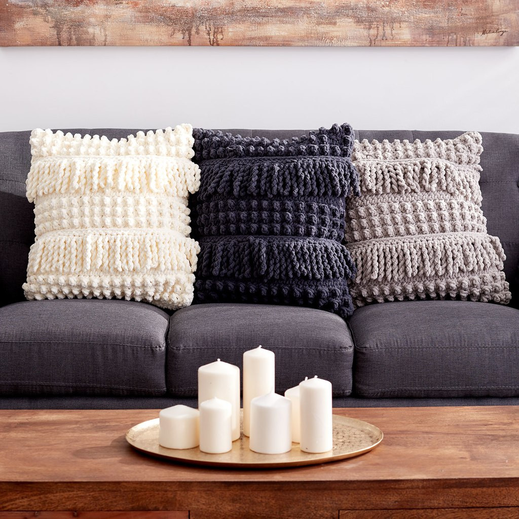 Crochet Pillow New Bernat Blanket™ Bobble and Fringe Crochet Pillow Of Superb 50 Images Crochet Pillow