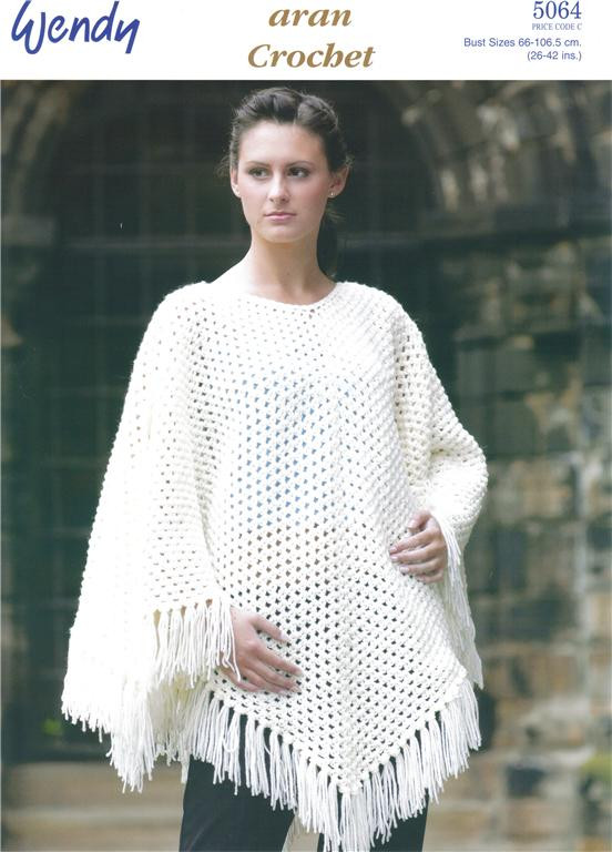 Crochet Poncho Pattern Lovely Aran Poncho Crochet Pattern 5064 Of Beautiful 41 Ideas Crochet Poncho Pattern