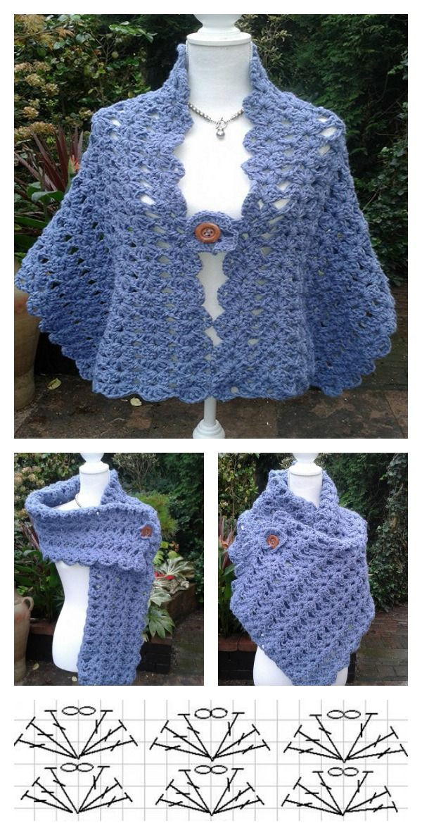 Crochet Poncho Patterns for Beginners Best Of Simple Crochet Lacy Shell Stitch Shawl Free Pattern for Of Amazing 43 Models Crochet Poncho Patterns for Beginners