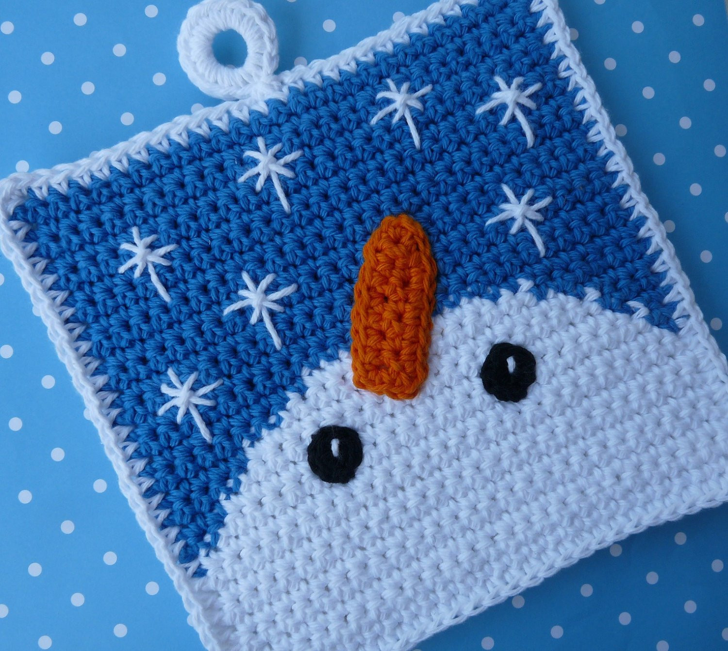 Crochet Potholder Pattern Fresh Snowman Gazing at Snowflakes Potholder Crochet Pattern Of Amazing 43 Pictures Crochet Potholder Pattern