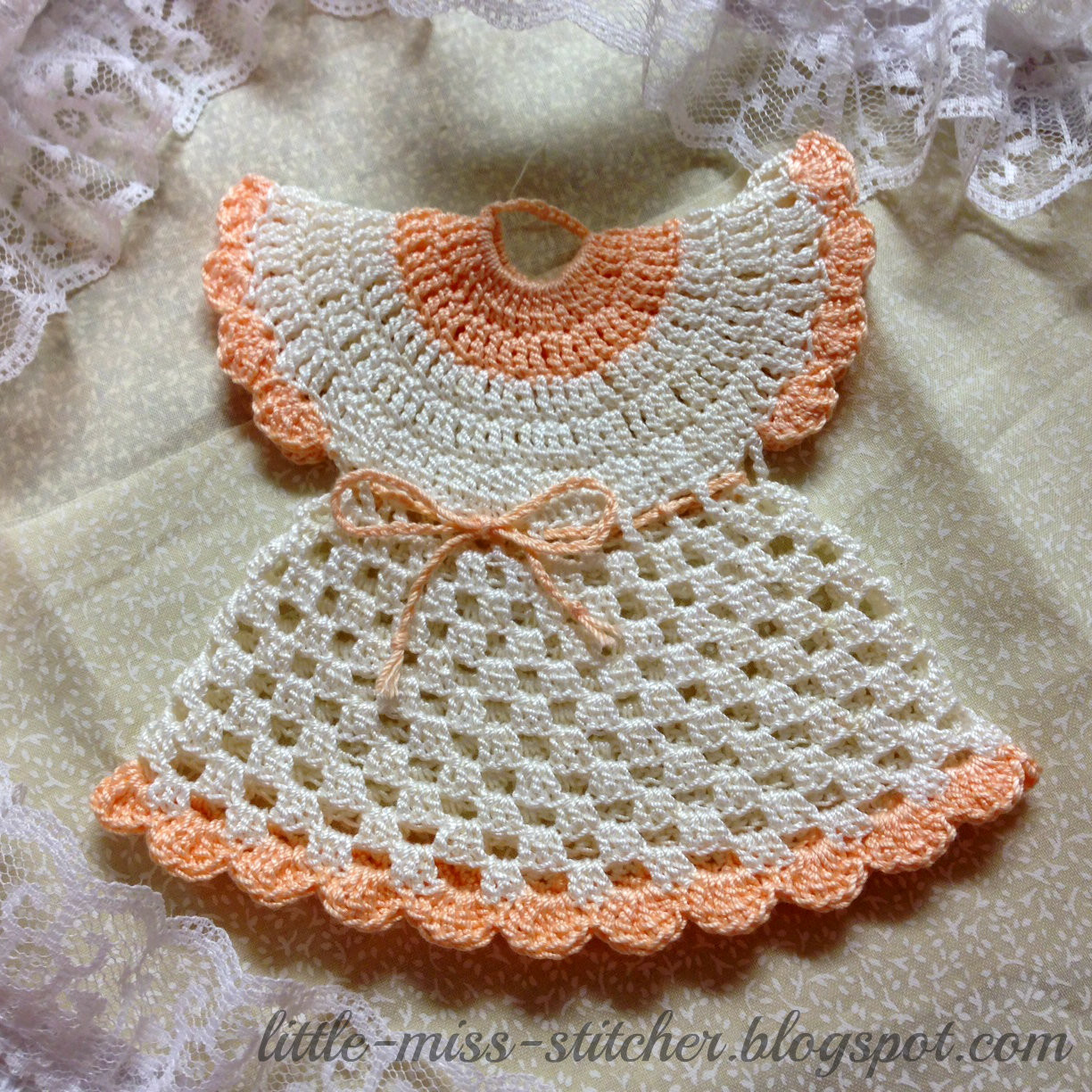 Little Miss Stitcher Vintage Crocheted Dress Potholder
