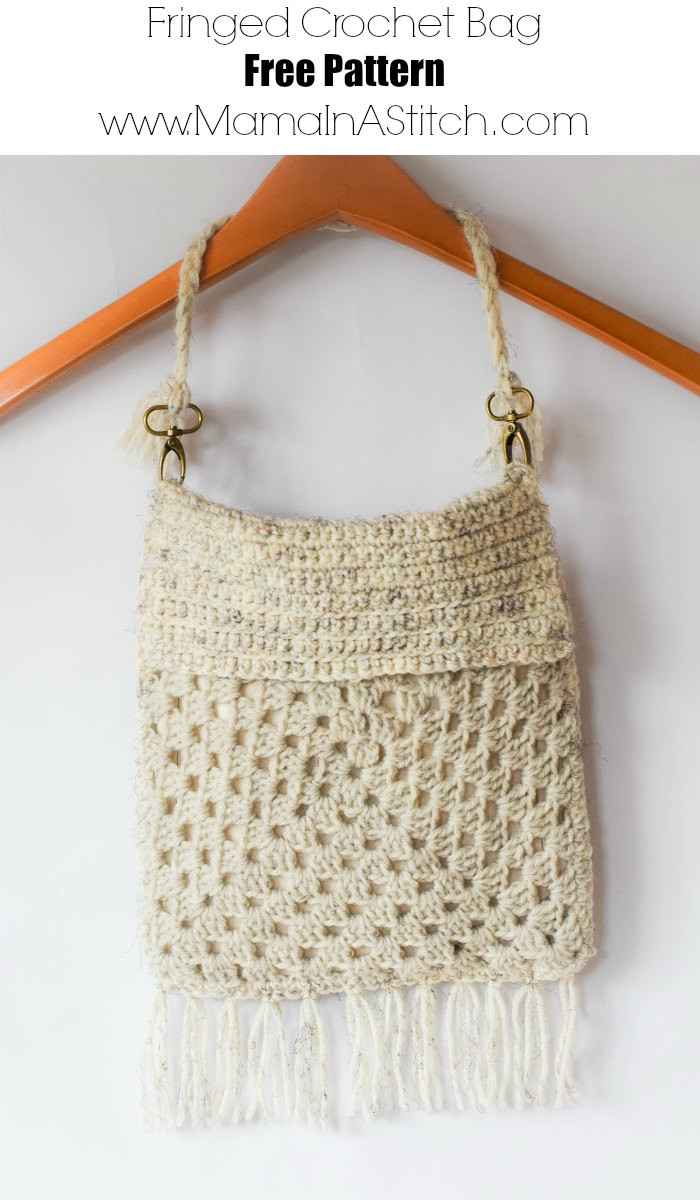 Boho Fringe Granny Square Crochet Purse – Mama In A Stitch