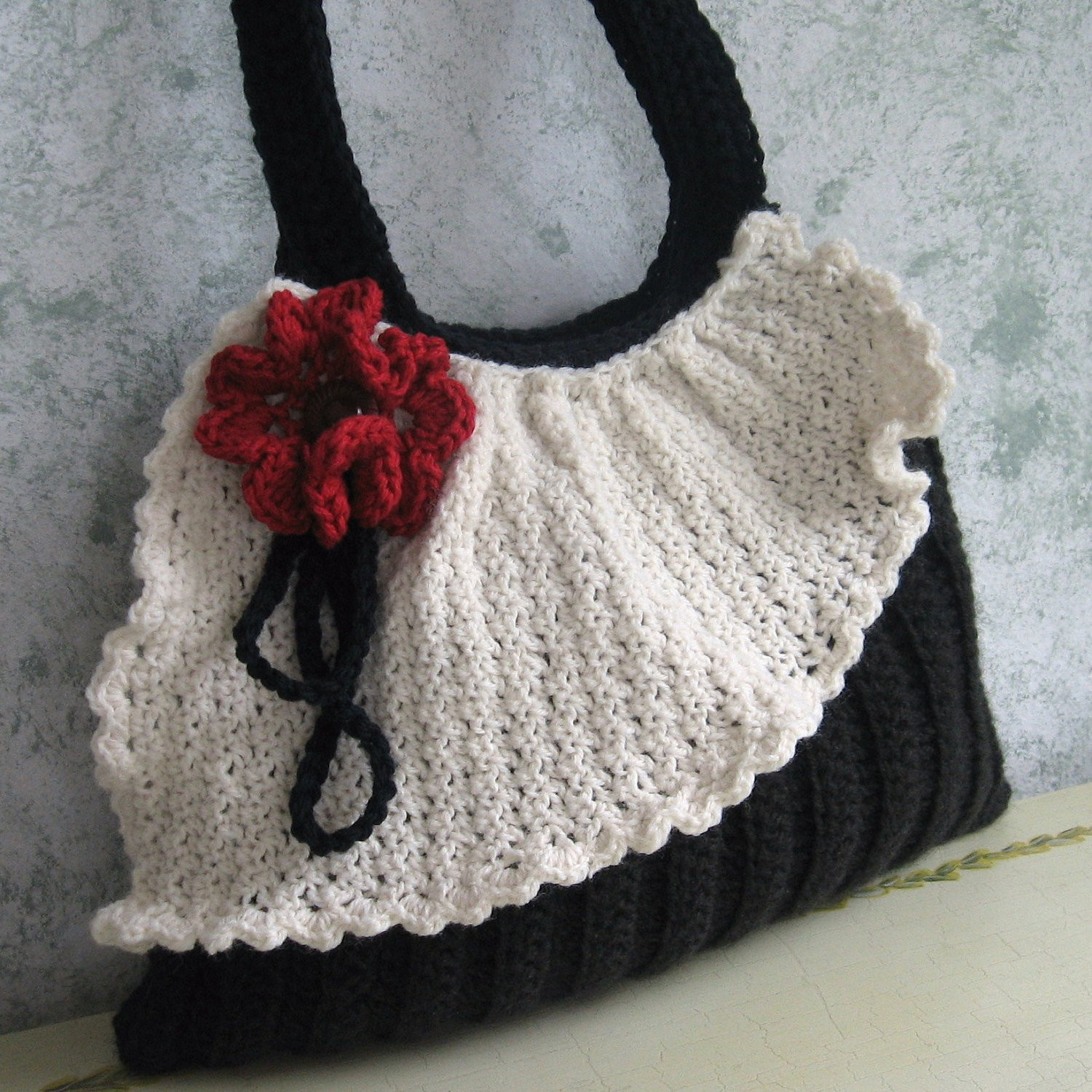 Crochet Purse Pattern Pleated Bag With Drape And Flower Trim
