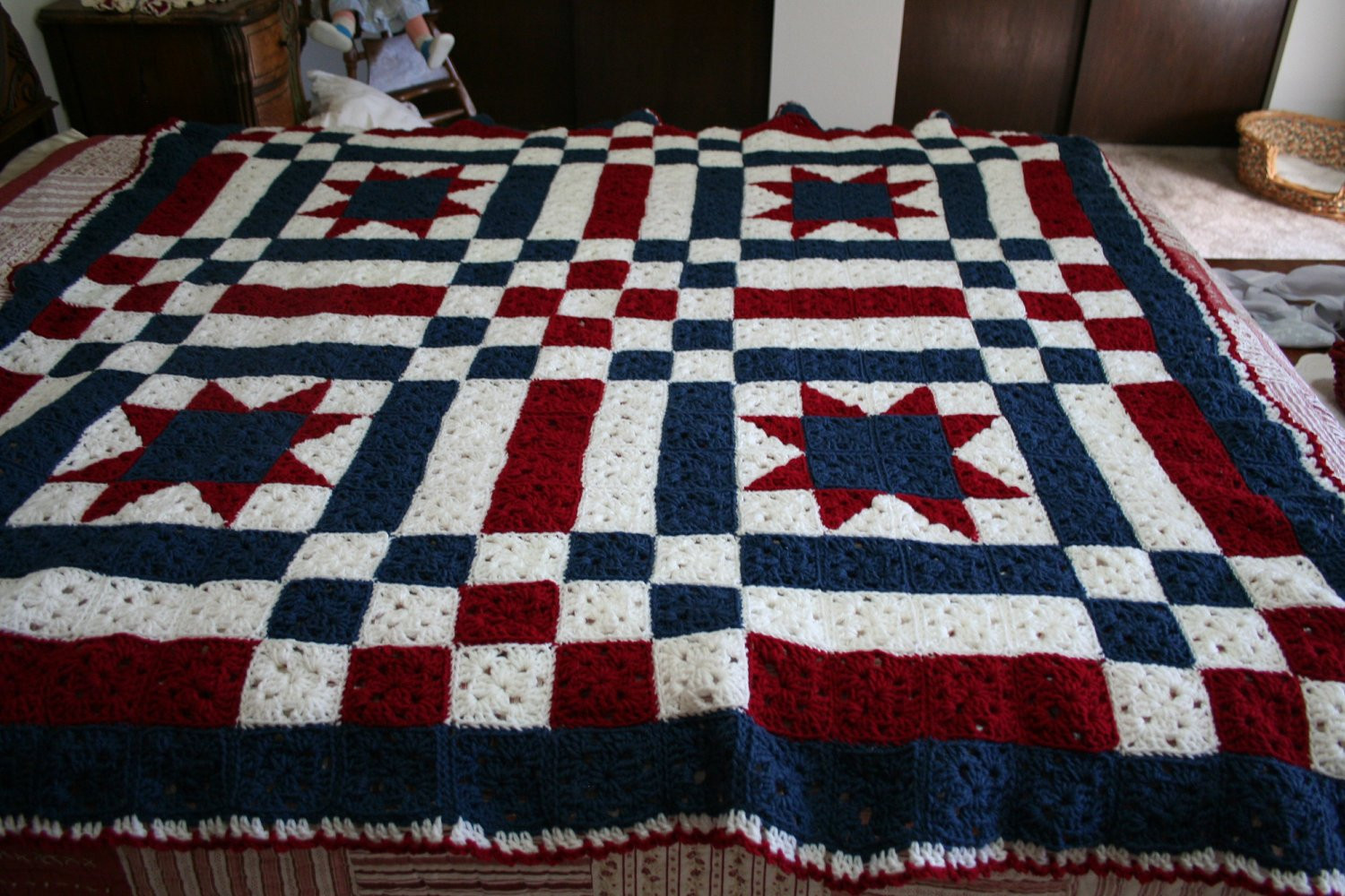 Crochet Quilts Inspirational Patriotic Ooak Crocheted Patchwork Quilt by 3rdtreeontheright Of Unique 45 Pics Crochet Quilts