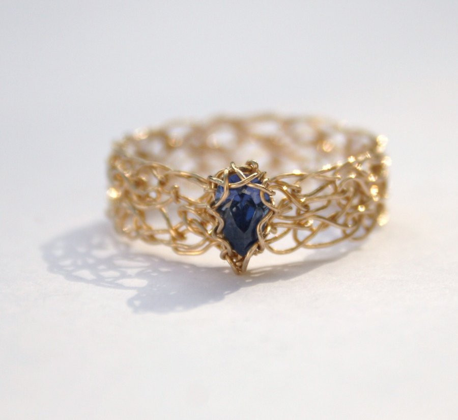 Crochet Rings Fresh Tanzanite Cz Gold Crochet Ring by Wrappedbydesign On Of Unique 40 Pics Crochet Rings