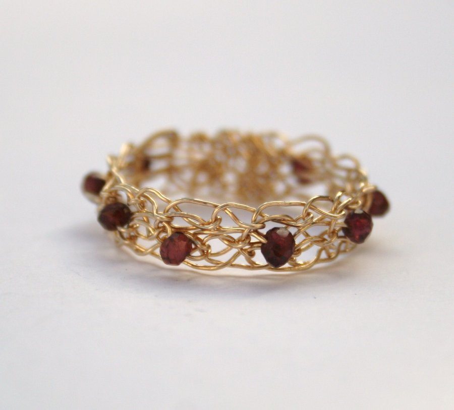 Crochet Rings Unique Garnet and Gold Crocheted Ring by Wrappedbydesign On Of Unique 40 Pics Crochet Rings