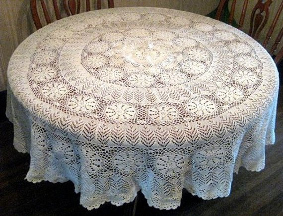 Crochet Round Tablecloth Lovely 62 Round Vintage Crochet Tablecloth Large Tablecloth Of Beautiful 41 Pictures Crochet Round Tablecloth
