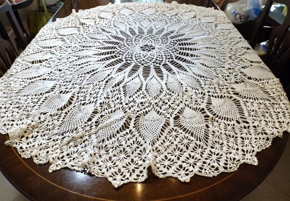 Crochet Round Tablecloth Lovely Hand Crocheted Round Tablecloth Pineapple Pattern 52 Of Beautiful 41 Pictures Crochet Round Tablecloth