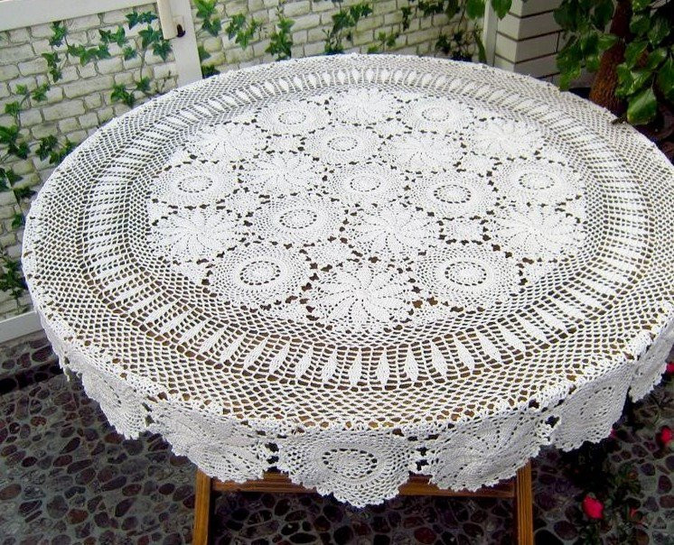Crochet Round Tablecloth Luxury Crochet Round Tablecloth 51 Inches by Tableclothshop On Etsy Of Beautiful 41 Pictures Crochet Round Tablecloth