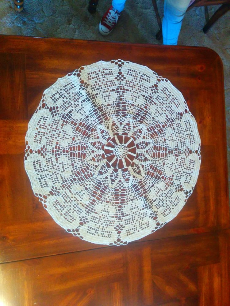 """Crochet Round Tablecloth Pattern Free Lovely Handmade Center Piece Round Table 29"""" Cloth Crochet Of Incredible 48 Pictures Crochet Round Tablecloth Pattern Free"""