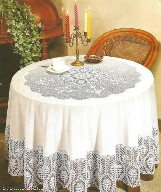 "Crochet Round Tablecloths Inspirational Crochet Vinyl Lace Tablecloth 70"" Round White Of Unique 43 Pictures Crochet Round Tablecloths"