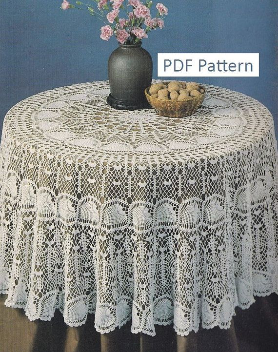 Crochet Round Tablecloths Inspirational Round Pineapple Tablecloth Crochet Pattern Pdf Instant Of Unique 43 Pictures Crochet Round Tablecloths