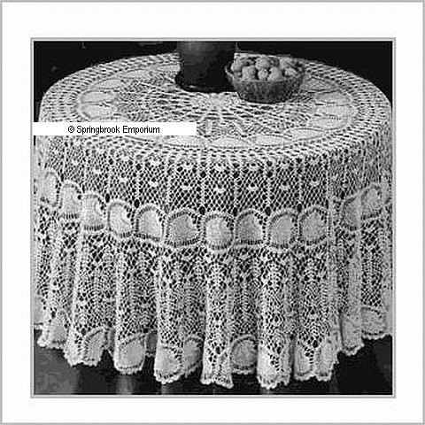 Round Pineapple Tablecloth 10 Thread Crochet Pattern