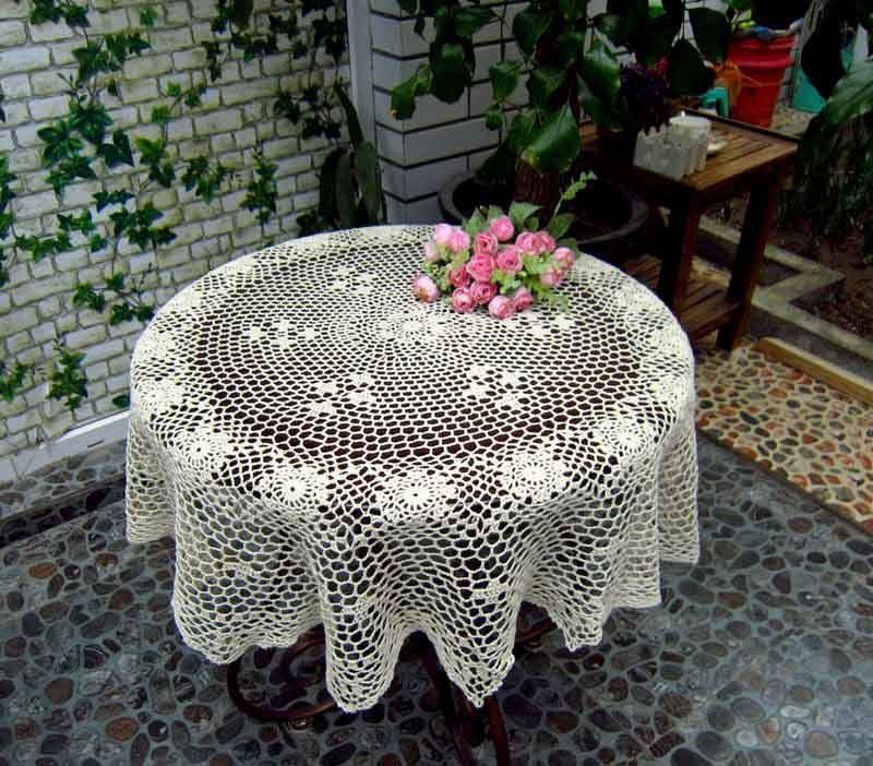Crochet Round Tablecloths New Vintage Hand Crochet Cotton Tablecloth topper Cover 36 Of Unique 43 Pictures Crochet Round Tablecloths