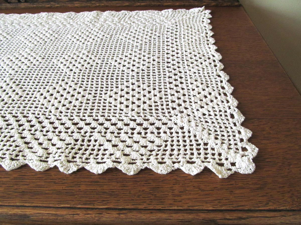 Crochet Runner New White Crocheted Table Runner Handmade Table Scarf 36 Inch Of Fresh 45 Ideas Crochet Runner
