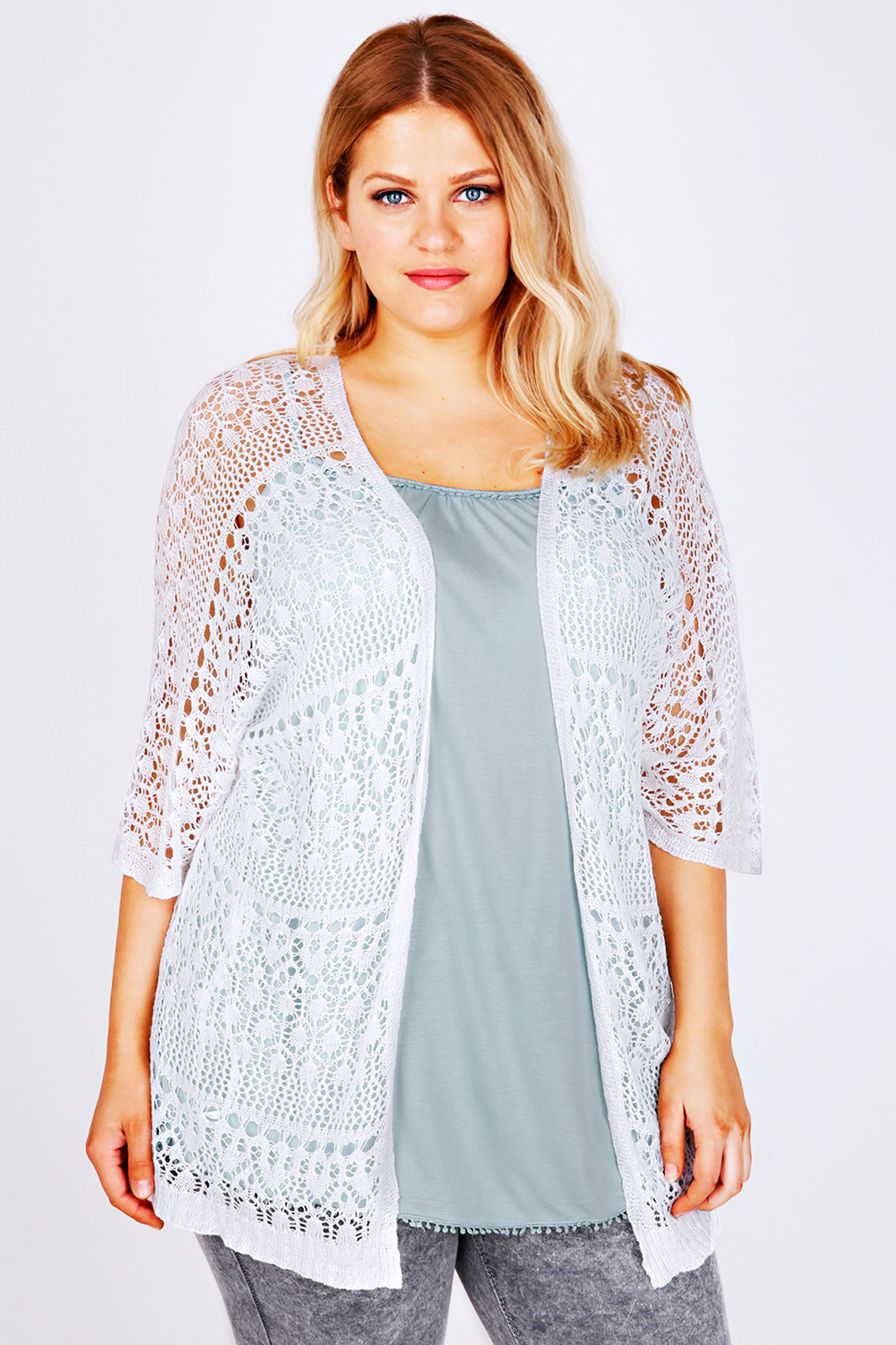 white crochet lace short sleeved cardigan p