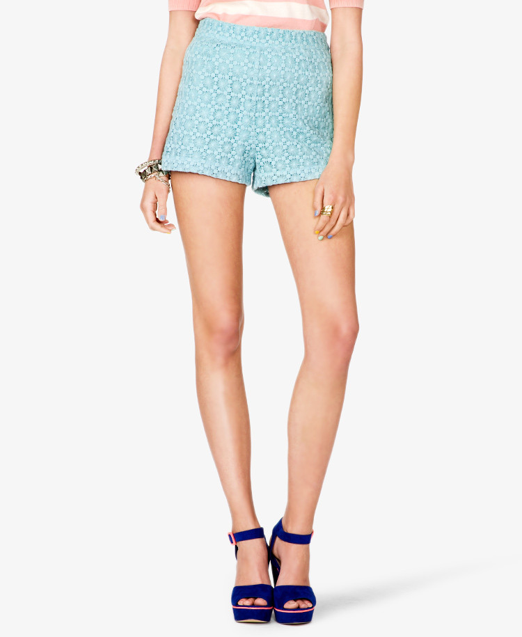 Crochet Shorts Womens Awesome forever 21 High Waisted Crochet Lace Shorts In Blue Aqua Of Lovely 46 Photos Crochet Shorts Womens